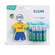 Kit 5 Blister Pilha Alcalina 1,5v (4 AA + 4 AAA) Elgin + 1 Chaveiro