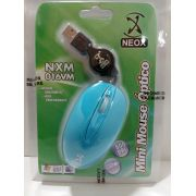 Mouse Optico USB mIni Neox Nxm016vm Cabo Retrátil (Azul)
