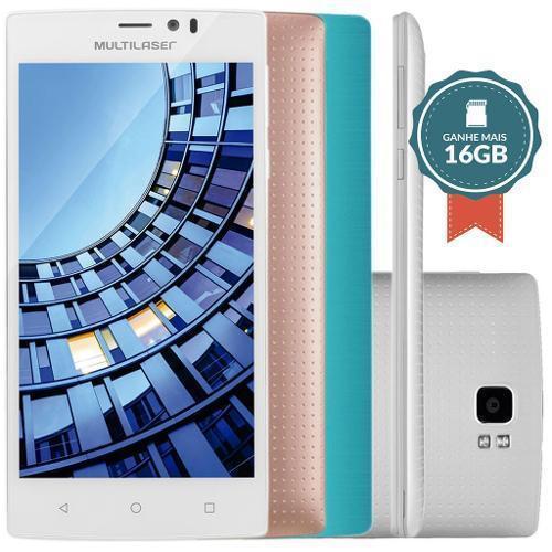 SmartPhone Multilaser MS60 Colors P9006 Branco - 2 Chips, Tela 5.5´IPS, Android 5.0, Q.Core 1.3GHz, 2GB RAM, Câm 8MP+13MP, Wi - Fi, 4G, Mem 16Gb.