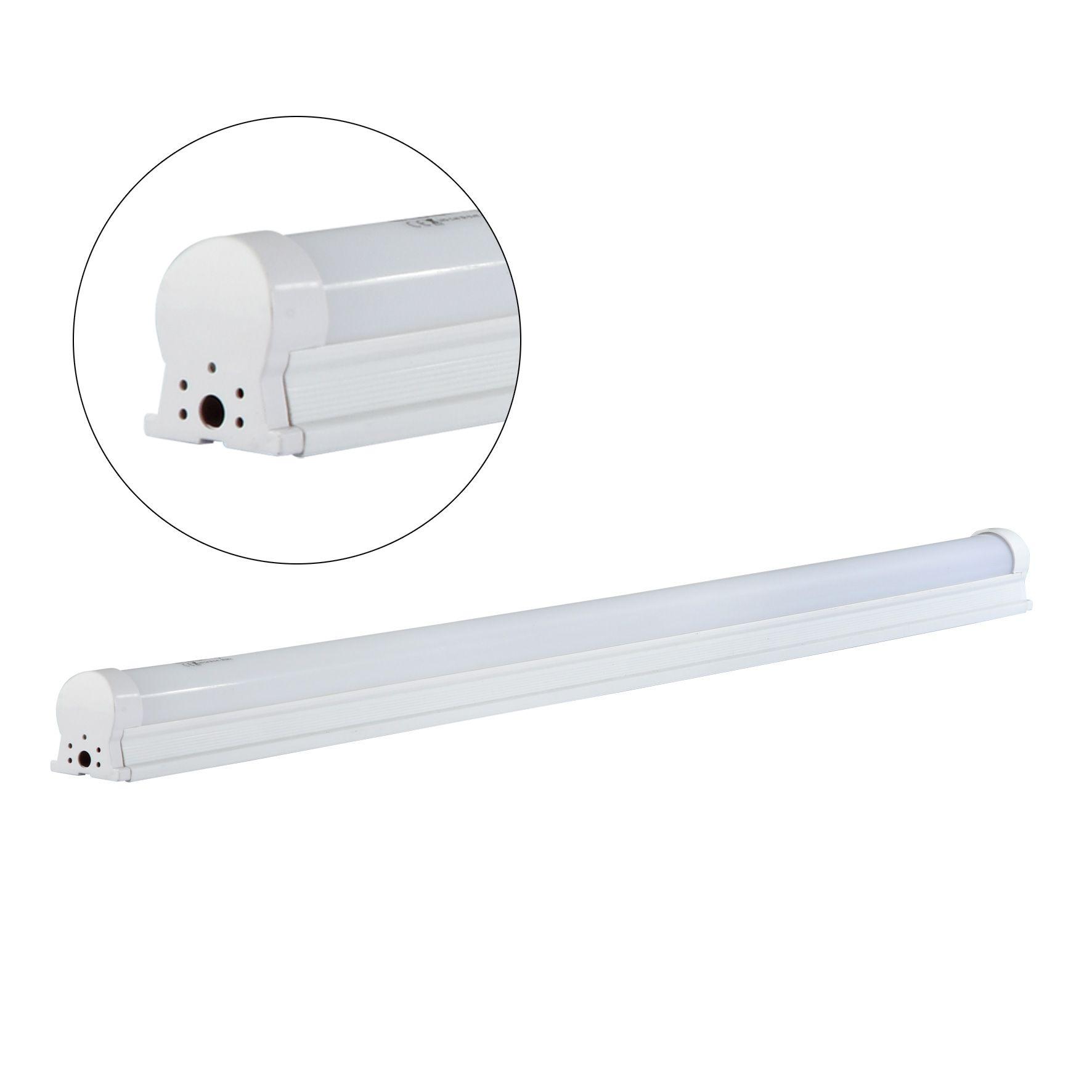 kit 20 Lâmpadas LED Tubular C/Calha T8L 9W 60CM/6500K Bi-Volt EQQO Branca (800 Lumens)