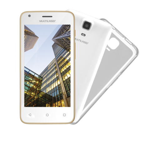 "SmartPhone Multilaser MS45 S Colors Branco/Dourado - 2 Chips, Tela 4.5"" IPS, Android 5.1, Q.Core, 1.2Ghz, 1GB RAM, Câmera 3 MP + 5 MP, 3G, Mem 8GB. (OUTLET)"