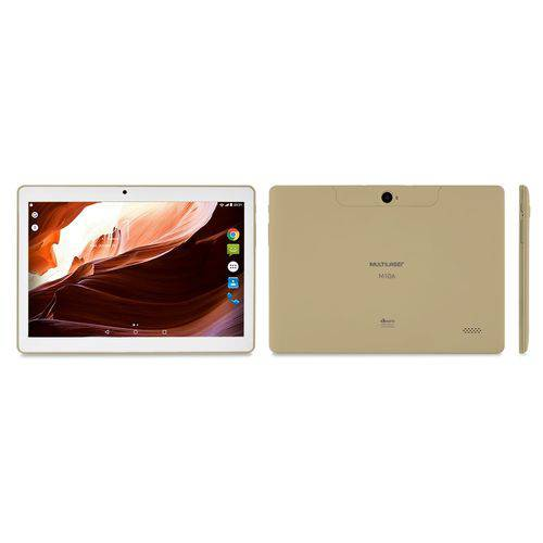 Tablet 10' Multilaser M10A Branco/Dourado NB277 - Android 6.0, 2 Chips, Q.core, 2Gb Ram, Mem 16Gb.