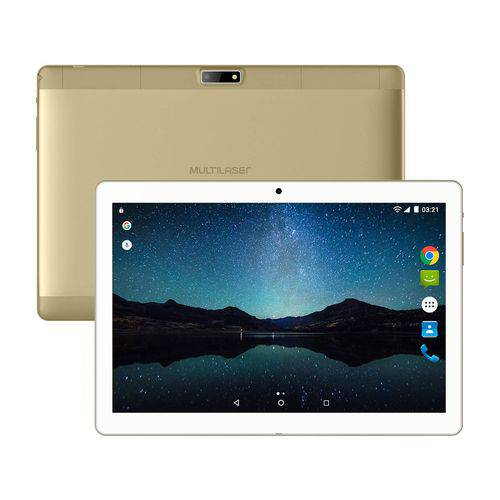 "Tablet 10"" Multilaser M10A Lite Br/Dourado NB268 - Android 7.0, 2 Chips, Q.core, 1Gb Ram, Mem 8Gb."