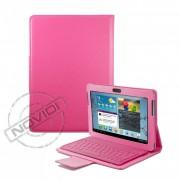Capa em Couro com Teclado sem fio Bluetooth para Samsung Galaxy Tab 2 10.1 P5110 /P5100 - Cor Rosa