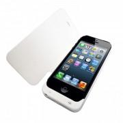 Bateria externa 2800mAh flip cover para Apple iPhone 5 - Cor Prateada / Branca