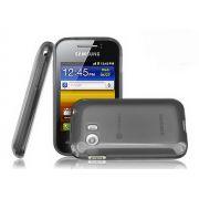 Capa TPU Premium + Película protetora para Samsung Galaxy Y TV GT-S5367 - Preta Grafite