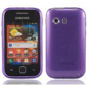Capa TPU Premium + Película protetora para Samsung Galaxy Y GT-S5360 - Cor Lilás