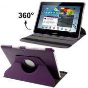 Capa em couro para Samsung Galaxy Tab 2 10.1 P5110 /P5100 com suporte 360º Rotating Stand Case - Cor Roxa