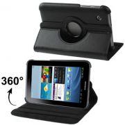 Capa em couro com suporte 360º para Samsung Galaxy Tab 2 7.0 P3100 / P3110 - Cor Preta