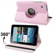 Capa em couro com suporte 360º para Samsung Galaxy Tab 2 7.0 P3100 / P3110 - Cor Rosa claro