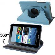 Capa em couro com suporte 360º para Samsung Galaxy Tab 2 7.0 P3100 / P3110 - Cor Azul