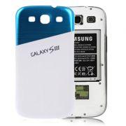 Tampa da Bateria personalizada para Samsung Galaxy S III i9300 - Cor Branca Azul - Novidi.com.br