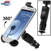 Suporte veicular Pro com carregador USB para Smartphones