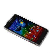 Capa de TPU Premium + Película protetora Pro fosca anti-reflexo para Motorola Razr HD XT925 - Cor Transparente