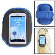 Braçadeira esportiva para Samsung Galaxy S3 i9300 - Azul/Preta