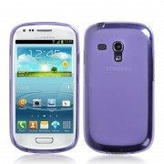 Capa de TPU Premium + Película Protetora Fosca para Samsung Galaxy S III Mini I8190 - Roxa