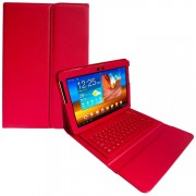 Capa em Couro com Teclado sem fio Bluetooth para Samsung Galaxy Tab 2 10.1 P5110 /P5100 - Vermelha