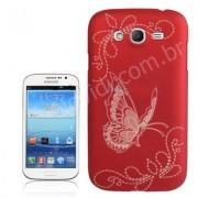 Capa Personalizada Borboletas para Samsung Galaxy Gran Duos I9082 -  Vermelha