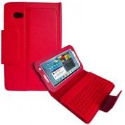 Capa em Couro com Teclado sem fio Bluetooth para Samsung Galaxy Tab 2 7.0 P3100 / P3110 - Cor Vermelha