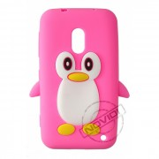 Capa Desenho Animado Pinguim Nokia Lumia 620 - Cor Rosa