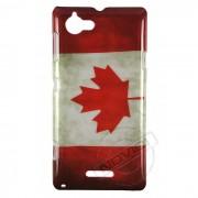 Capa Personalizada Bandeira do Canadá Envelhecida para Sony Xperia L