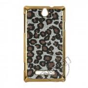 Capa Luxo Fashion Oncinha para Sony Xperia E - Cor Preta e Prateada