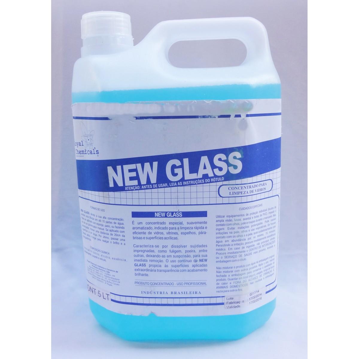 NEW GLASS - CONCENTRADO PARA LIMPEZA DE VIDROS GALÃO DE 5 LITROS  - Tempo de Casa