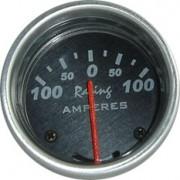 Rel�gio Amper�metro 12M Racing 0-100A 52mm 12.800 � Mostrador Preto Aro Alum�nio Luz Verde