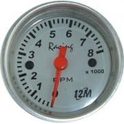 Rel�gio Contagiro 12M Racing Future 8000RPM 1bobina 52mm 12.352 � Mostrador Branco Aro Alum�nio Luz