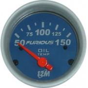 Rel�gio Temperatura do �leo 12M Furious 50-150�C 52mm 13.202 � Mostrador Azul Aro Prata Luz Vermelha