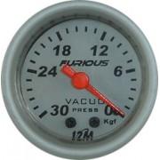 Rel�gio Vacu�metro 12M Furious 52mm 13.404 � Mostrador Branco Translucido Aro Prata Luz Vermelha