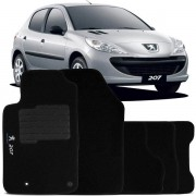 Tapete Automotivo Personalizado Carpete Peugeot 207 07 at� 13 Preto Jogo 4 pe�as
