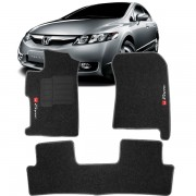 Tapete Automotivo Personalizado Carpete New Civic Preto Jogo 4 pe�as