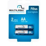 Pilha Recarreg�vel AA 2500mAH 1.2V Multilaser CB053 Par