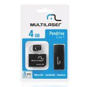 Kit Multilaser Cart�o de Mem�ria 4GB Micro SD e Pen Drive Mc057