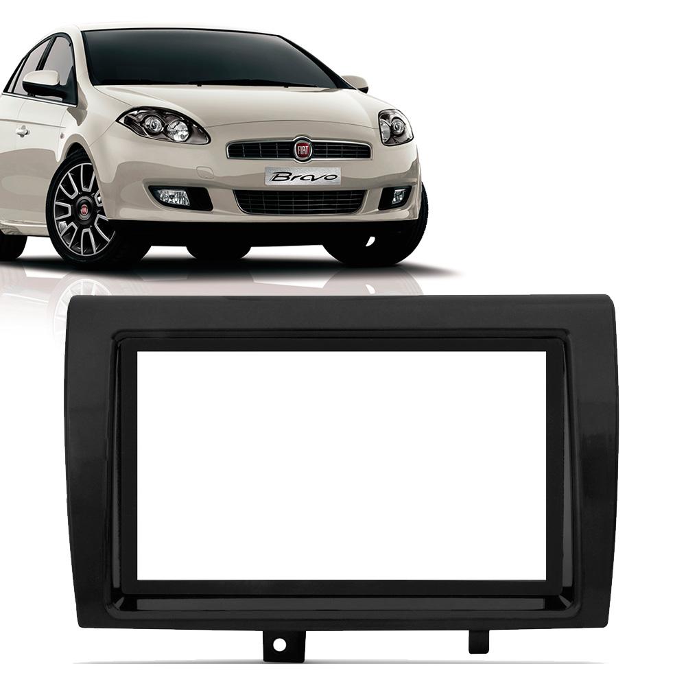 Moldura Painel 2 Din Fiat Bravo 2011 em diante Preta - AutoParts Online