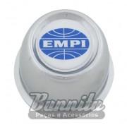 Calota copinho cromada com emblema Empi para roda 4 furos Fusca, Variant, Karmann Ghia e TL