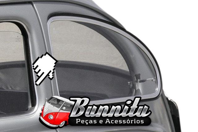 Friso em alumínio com borracha de pestana interna para porta do VW Fusca  - Bunnitu Peças e Acessórios