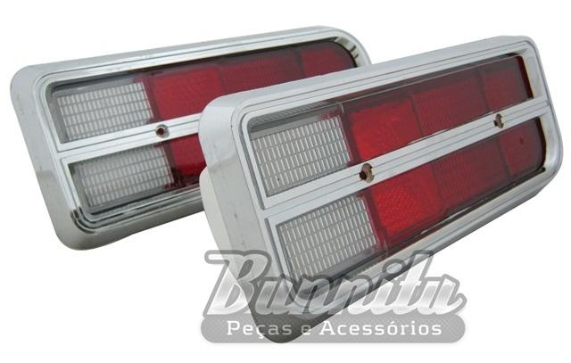 Lanterna traseira com lente bicolor para GM Chevette modelo tubarão 1974 à 1979 com aro cromado  - Bunnitu Peças e Acessórios