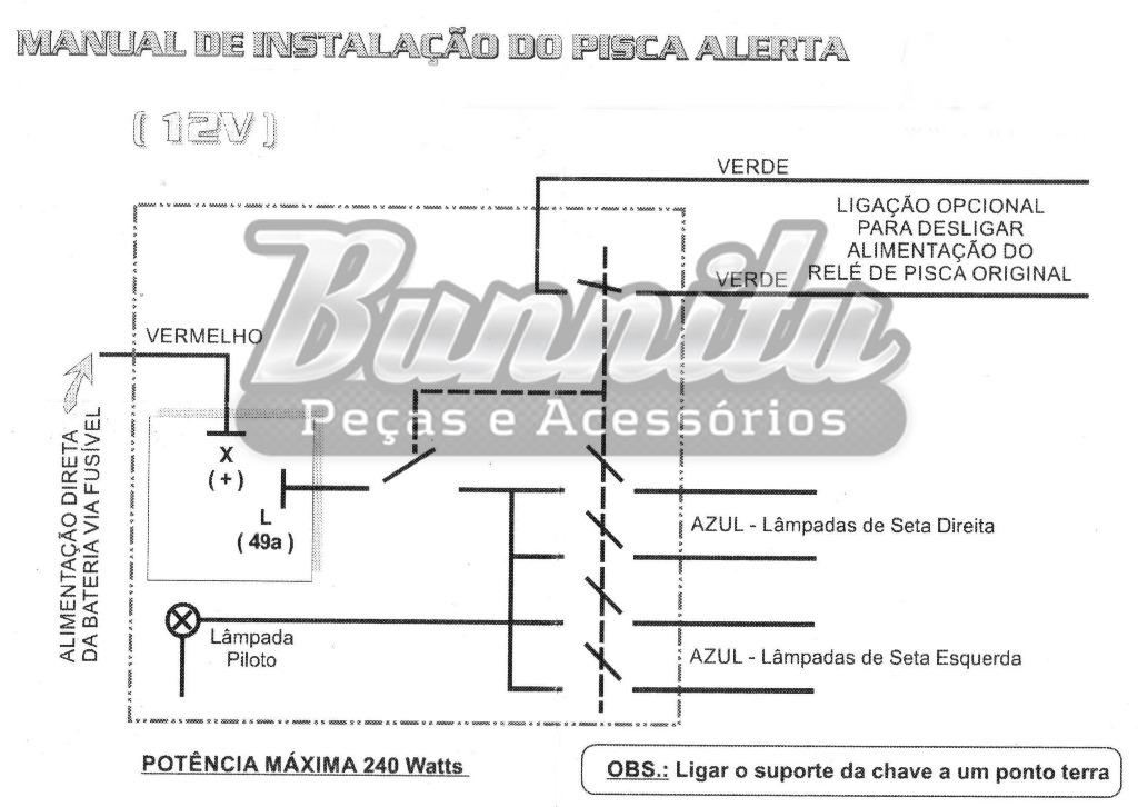 Botão chave do pisca alerta - Aplicação universal  - Bunnitu Peças e Acessórios