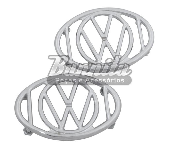 Grade da buzina do paralama para VW Fusca modelo Logo VW  - Bunnitu Peças e Acessórios