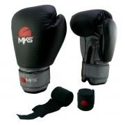 Luva de Boxe Prospect MKS Black & Silver 12 oz + bandagem