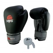 Luva de Boxe Prospect MKS Black & Silver 12 oz + Protetor Bucal