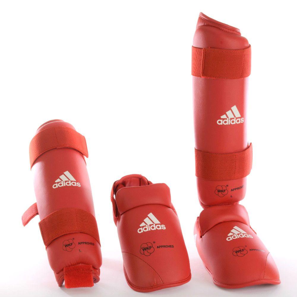 Caneleira com Protetor de Pé adidas Karatê WKF Vermelha
