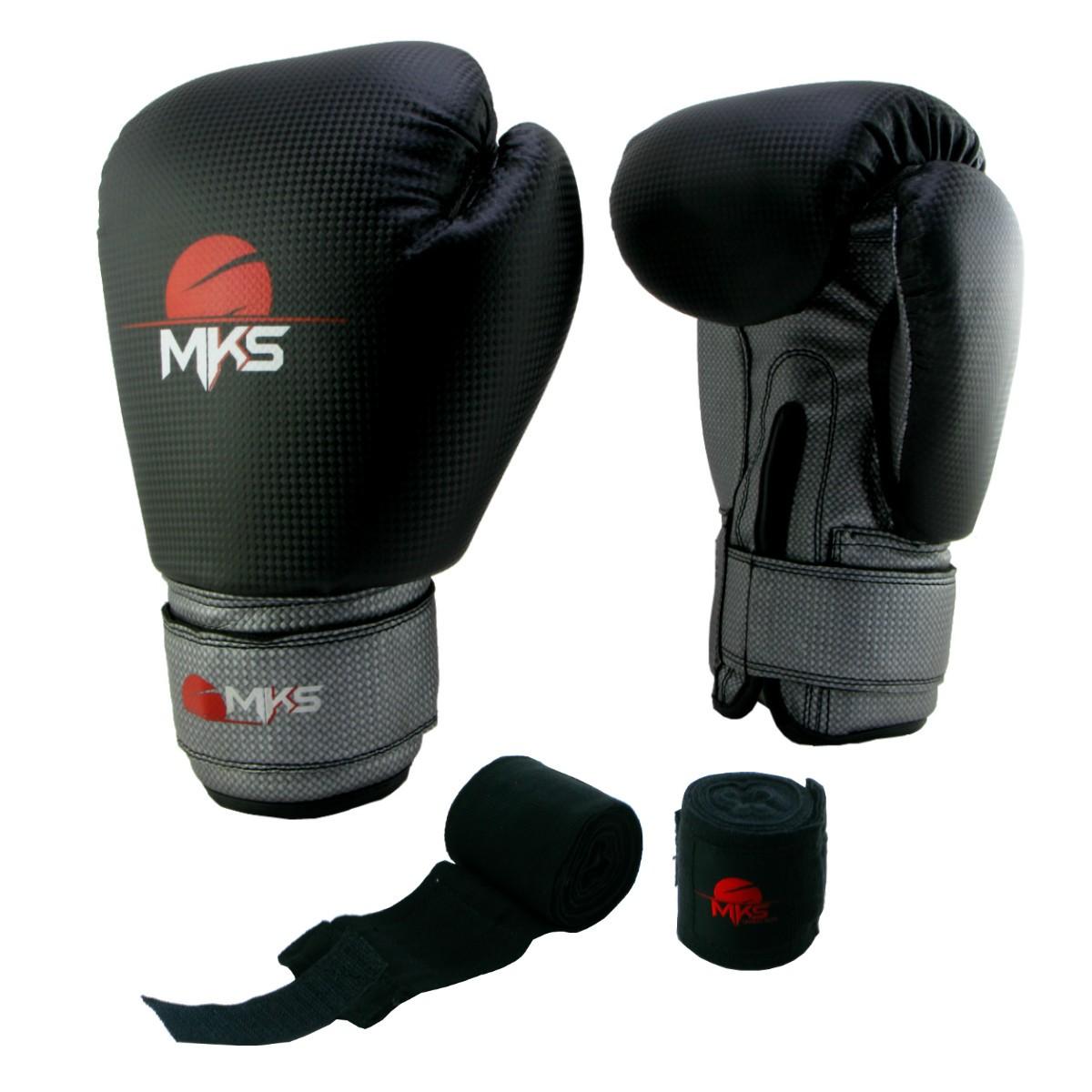 Luva de Boxe Prospect MKS Black & Silver 14 oz + bandagem
