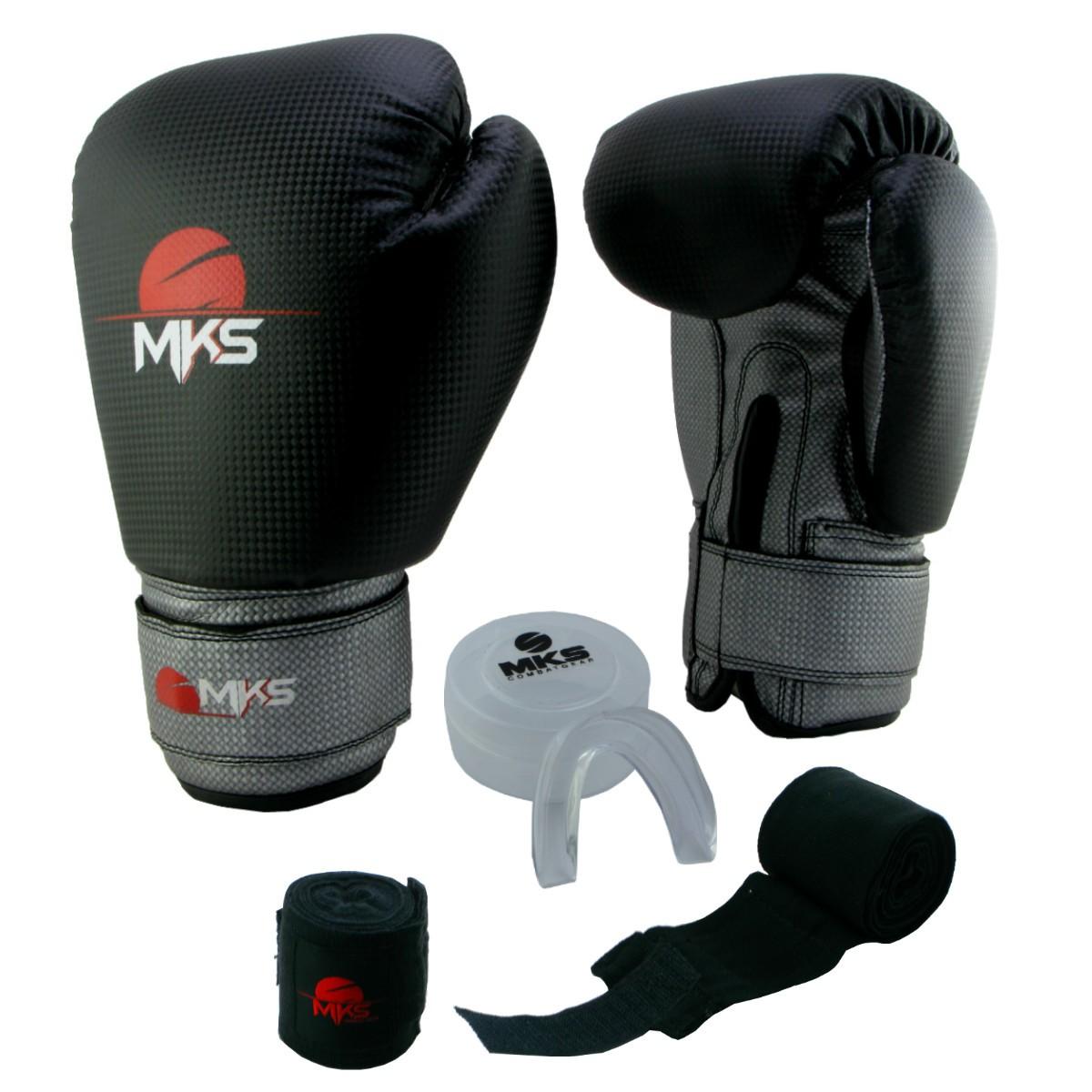 Luva de Boxe Prospect MKS Black & Silver 14 oz + Protetor Bucal + Bandagem