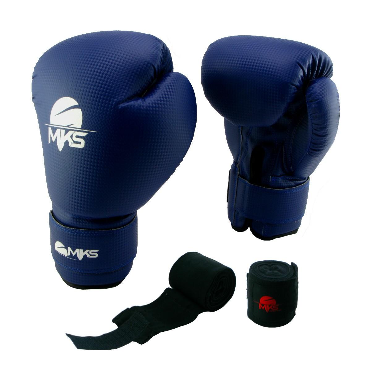 Luva de Boxe Prospect MKS Blue 12 oz + bandagem