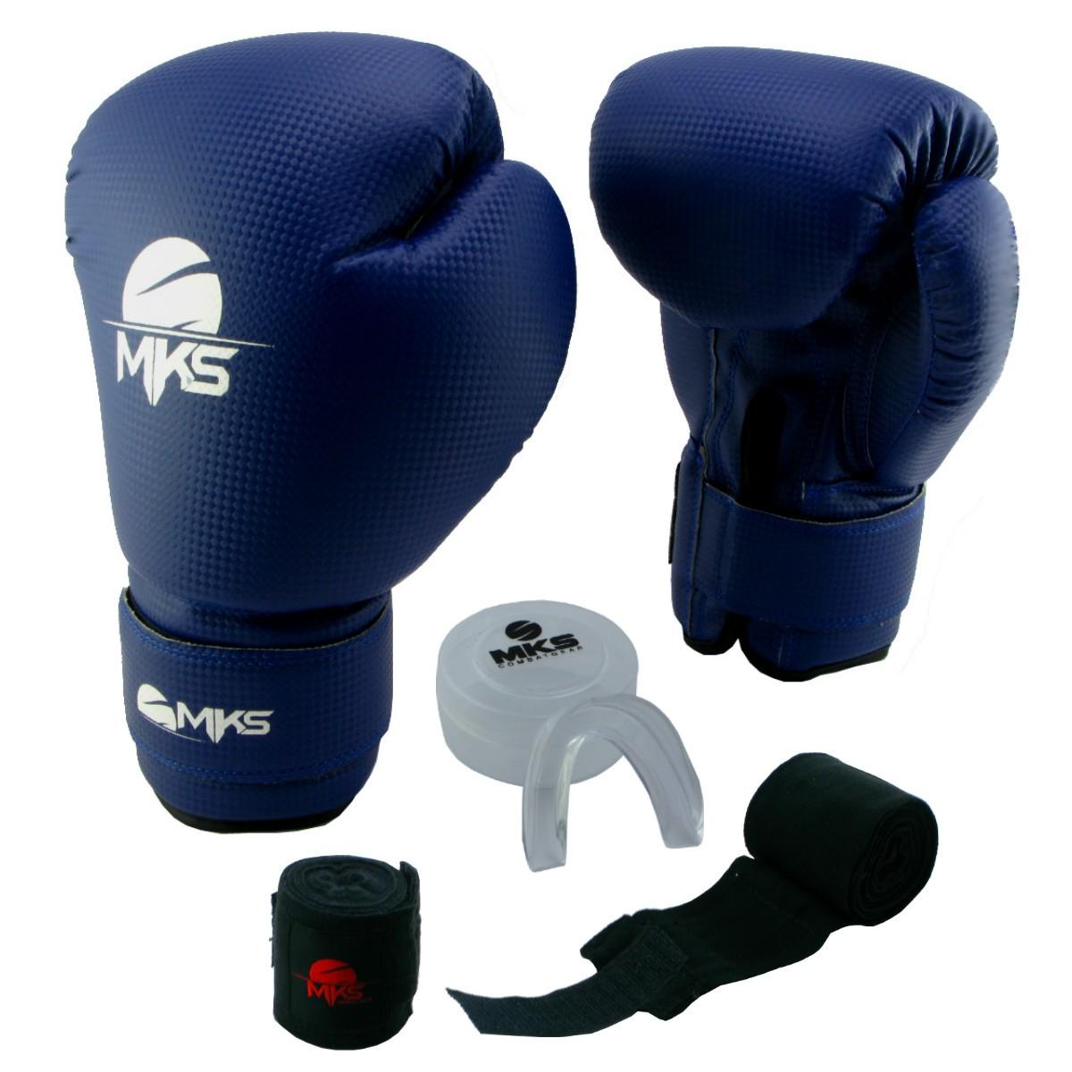 Luva de Boxe Prospect MKS Blue 12 oz + Protetor Bucal + Bandagem