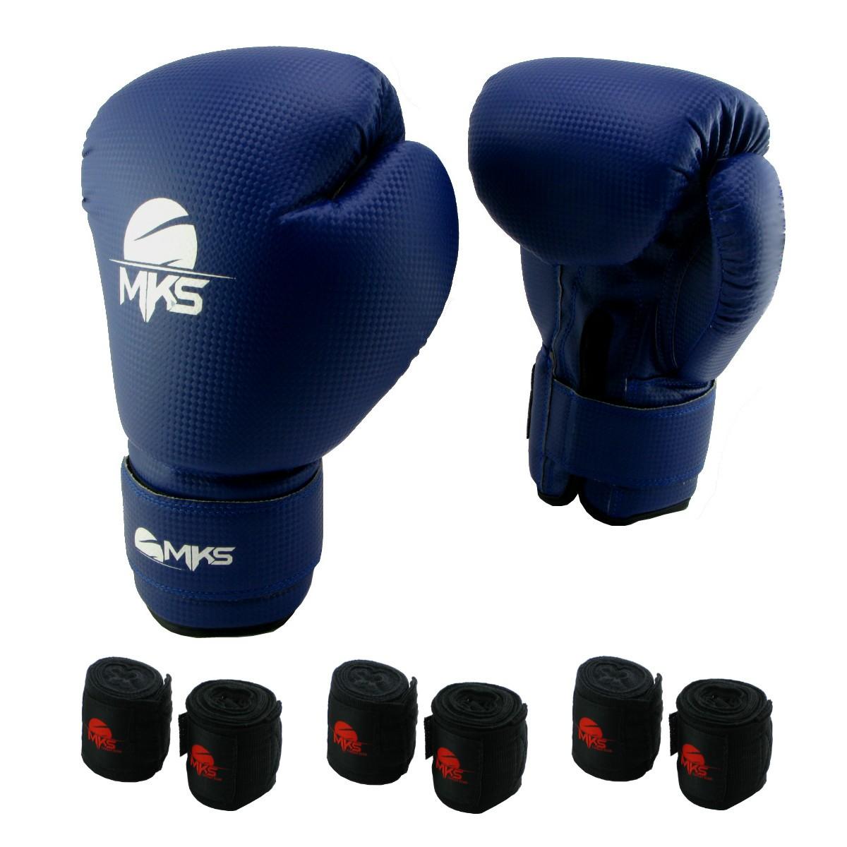 Luva de Boxe Prospect MKS Blue 16 oz +  03 bandagem