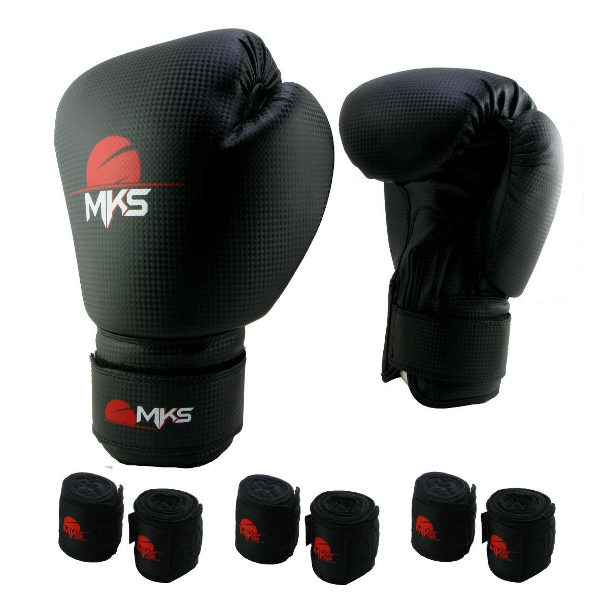 Luva de Boxe Prospect MKS Preta 12 oz +  03 bandagem